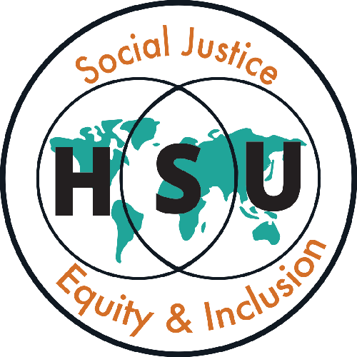 HSU Social Justice Equity & Inclusion logo in burnt orange, turquoise, and black.